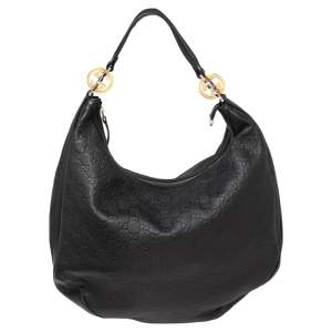 Gucci Black Guccissima Leather Large GG Twins Hobo