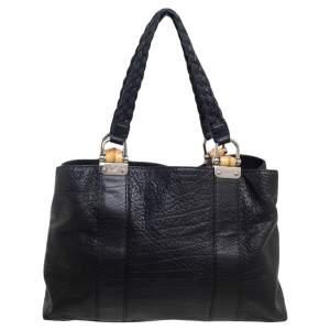 حقيبة يد غوتشي بامبو بار متوسطة جلد أسود