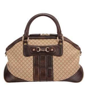 Gucci Brown GG Canvas Diamante Dome Satchel Bag