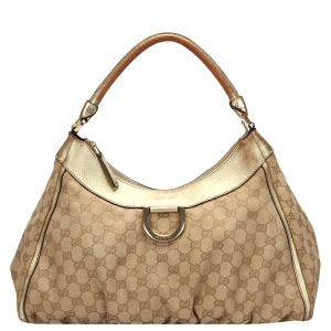 Gucci Brown GG Canvas D Ring Hobo Bag