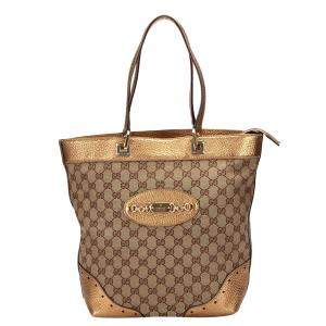 Gucci Brown GG Canvas Large Bucket Web Tote Bag