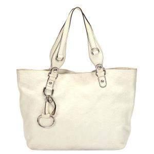 Gucci White Leather Icon Bit Tote Bag