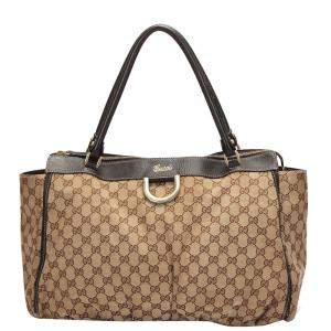 Gucci Brown GG Canvas Large D Ring Tote Bag