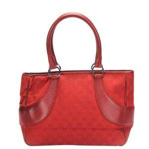 Gucci Red GG Canvas Tote Bag