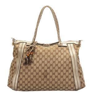 Gucci Brown GG Canvas Calf Leather Bella Tote Bag