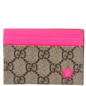 Gucci Beige/Pink Canvas, Leather Star Wallet