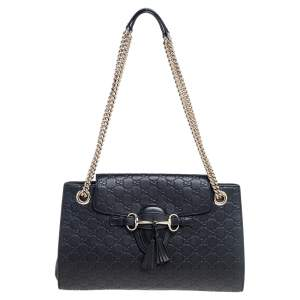Gucci Black Guccissima Leather Large Emily Chain Shoulder Bag