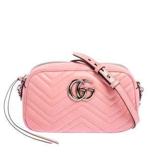 Gucci Pink Matelasse Leather Small GG Marmont Shoulder Bag