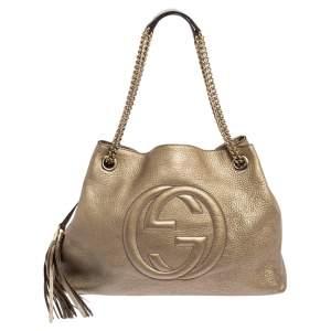 حقيبة يد توتس غوتشي سوهو جلد بيج ميتاليك متوسطة
