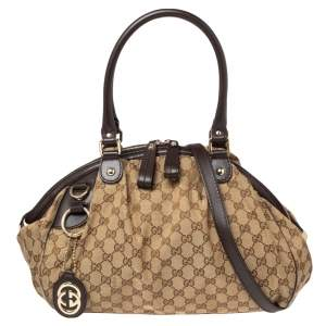 Gucci Beige/Brown GG Canvas and Leather Medium Sukey Boston Bag