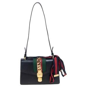 Gucci Black Leather Small Web Chain Sylvie Shoulder Bag