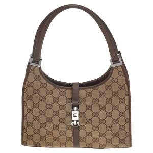 Gucci Beige/Brown GG Canvas And Leather Small Jackie Barbot Hobo