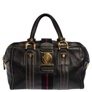 Gucci Black Leather Aviatrix Large Boston Bag