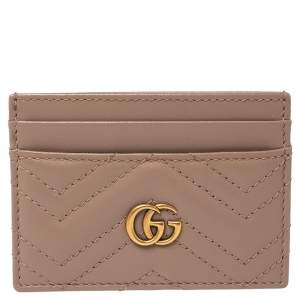 Gucci Beige Matelasse Leather GG Marmont Card Holder