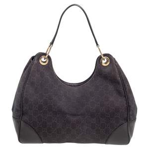Gucci Brown GG Canvas and Leather Hobo