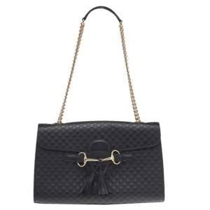 Gucci Black Microguccissima Leather Medium Emily Chain Shoulder Bag