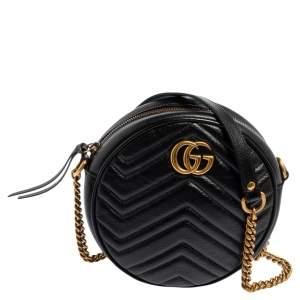 Gucci Black Glossy Leather Mini GG Marmont Round Shoulder Bag
