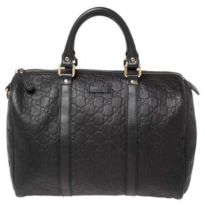 Gucci Black Guccissima Leather Medium Joy Boston Bag