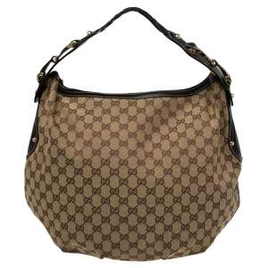Gucci Brown/Beige GG Canvas and Leather Medium Pelham Hobo