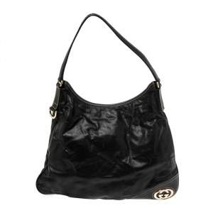 Gucci Black Soft Leather New Britt Hobo