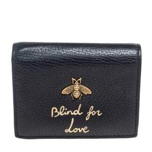 Gucci Black Leather Blind For Love Bee Accent Bifold Wallet