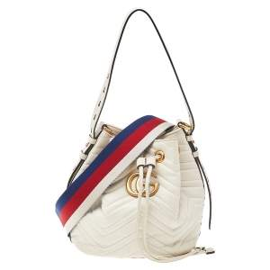 Gucci Off White Matelasse Leather Web GG Marmont Bucket Bag