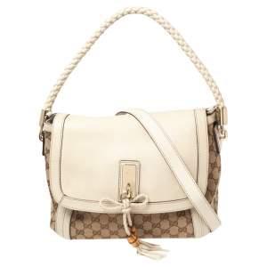Gucci Beige/Brown GG Canvas and Leather Medium Bella Shoulder Bag