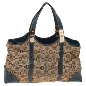 Gucci Beige/Blue Horsebit Canvas And Leather Buckle Handle Shoulder Bag