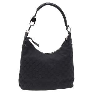 Gucci Black GG Canvas and Leather Shoulder Bag
