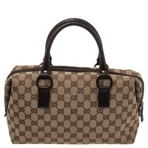 Gucci Beige/Brown GG Canvas Boston Bag
