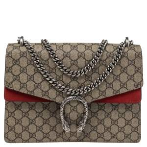 Gucci Beige/Red GG Supreme Canvas Medium Dionysus Shoulder Bag