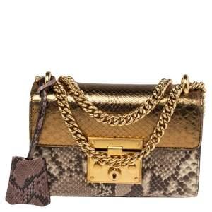 Gucci Metallic Tricolor Python Small Padlock Shoulder Bag