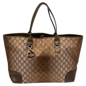 Gucci Ombre Metallic Brown GG Canvas And Leather Medium Charms Embellished Heart Bit Tote