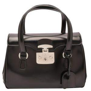 Gucci Black Smooth Calfskin Leather Caspian Medium Lady Lock Bag