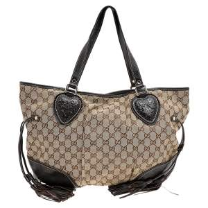 Gucci Beige/Brown Canvas And Leather Heart Shoulder Bag