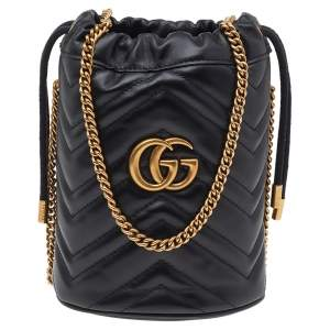 Gucci Black Matelasse Leather GG Marmont Bucket Bag