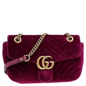 Gucci Purple Velvet Small GG Marmont Shoulder Bag