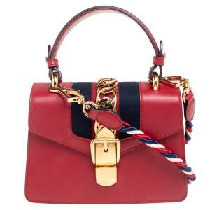 Gucci Red Leather Mini Web Chain Sylvie Top Handle Bag