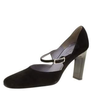 حذاء كعب عالي غوتشي ماري جين سويدي أسود مقاس 37.5