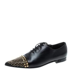 حذاء لوفرز غوتشي مقدمة مدببة مرصع جلد أسود مقاس 37