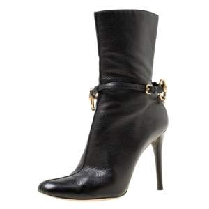 Gucci Black Leather Chain Link Ankle Booties Size 36