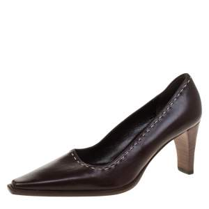 Gucci Brown Leather Pointed Toe Pumps Size 34