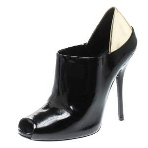 Gucci Black Patent Leather Peep Toe Booties Size 38