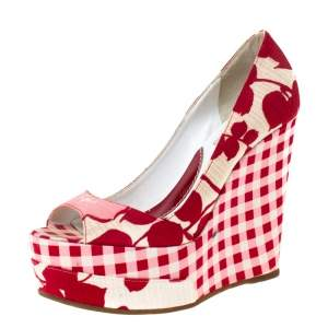 Kenzo Red/White Printed Canvas Peep Toe Checkered Wedge Pumps Size 36