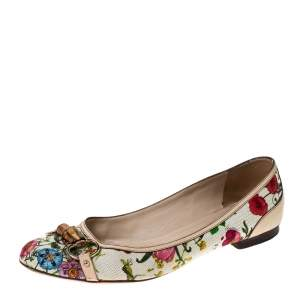 Gucci Multicolor Floral Print Leather and Canvas Bamboo Horsebit Ballet Flats Size 41.5