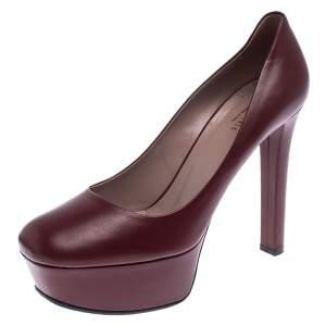 Gucci Dark Red Leather Platform Pumps Size 38