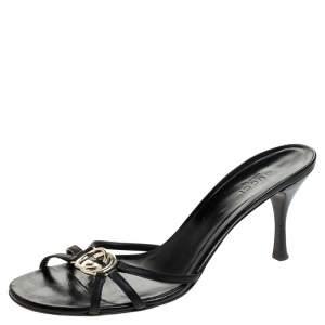Gucci Black GG Interlocking Leather Strappy Slide Sandals Size 38.5