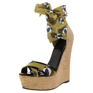 Gucci Multicolor Silk And Jute Scarf Ankle Wrap Wedge Size 36.5