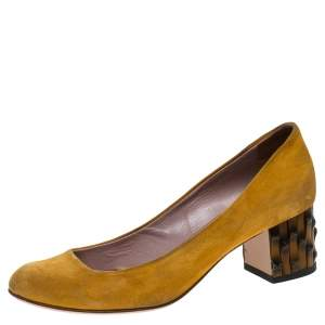 Gucci Yellow Suede Dahlia Bamboo Heel Pumps Size 36.5
