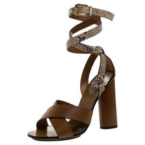 Gucci Brown Leather and Python Candy Cross Ankle Wrap Sandals Size 38.5